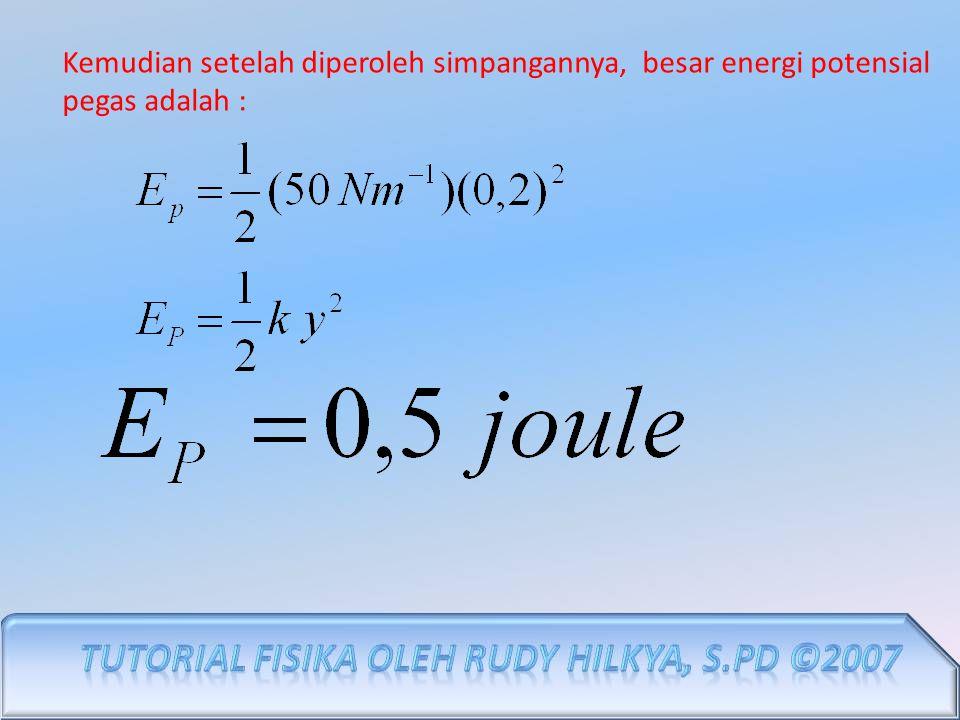 Kemudian setelah diperoleh simpangannya, besar energi potensial pegas adalah :