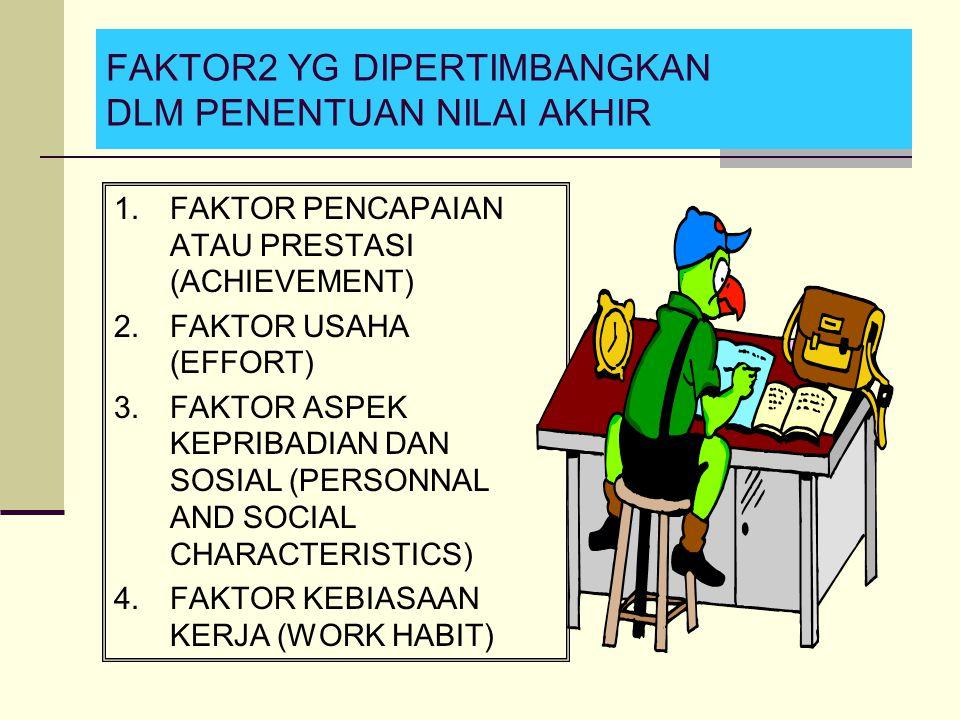 FAKTOR2 YG DIPERTIMBANGKAN DLM PENENTUAN NILAI AKHIR 1.FAKTOR PENCAPAIAN ATAU PRESTASI (ACHIEVEMENT) 2.FAKTOR USAHA (EFFORT) 3.FAKTOR ASPEK KEPRIBADIA