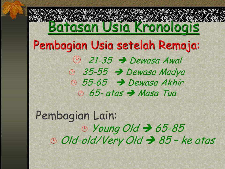 Batasan Usia Kronologis Pembagian Usia setelah Remaja: ¸ 21-35  Dewasa Awal ¸ 35-55  Dewasa Madya ¸ 55-65  Dewasa Akhir ¸ 65- atas  Masa Tua Pemba