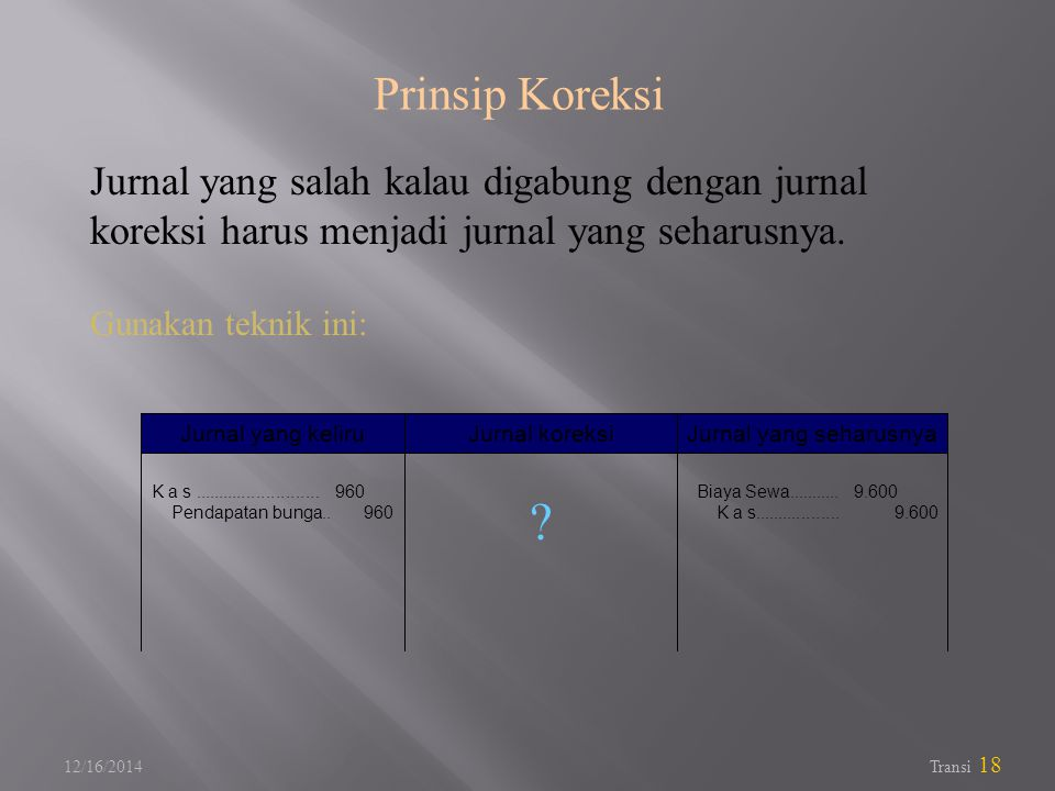 12/16/2014 Transi 18 Jurnal yang salah kalau digabung dengan jurnal koreksi harus menjadi jurnal yang seharusnya.