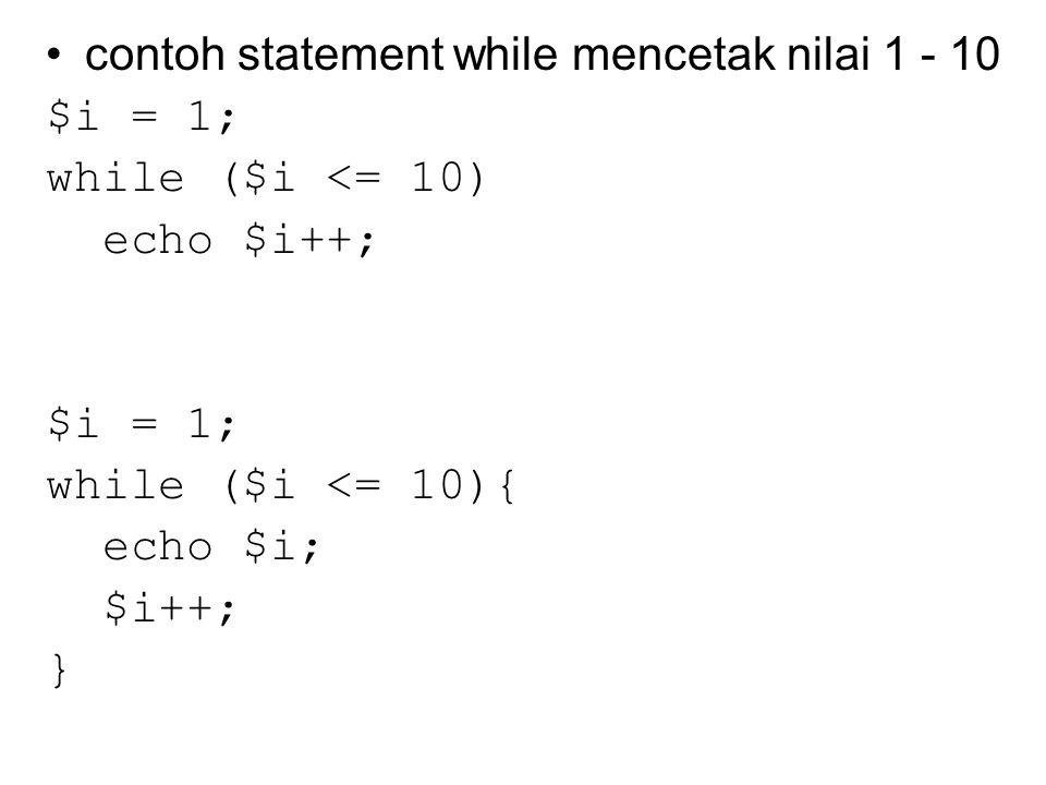 Statement include_once() Perbedaan dengan statement include() adalah jika kode dari sebuah file telah di-include(), maka kode tersebut tidak akan di-include() lagi include_once() seharusnya digunakan pada kasus dimana file yang sama dapat di-include atau dievaluasi lebih dari sekali selama eksekusi script tertentu, dan ingin dipastikan file tersebut hanya di-include satu kali saja untuk menghindari masalah dengan redefinisi fungsi, pemberian ulang nilai variabel, dan lain-lain