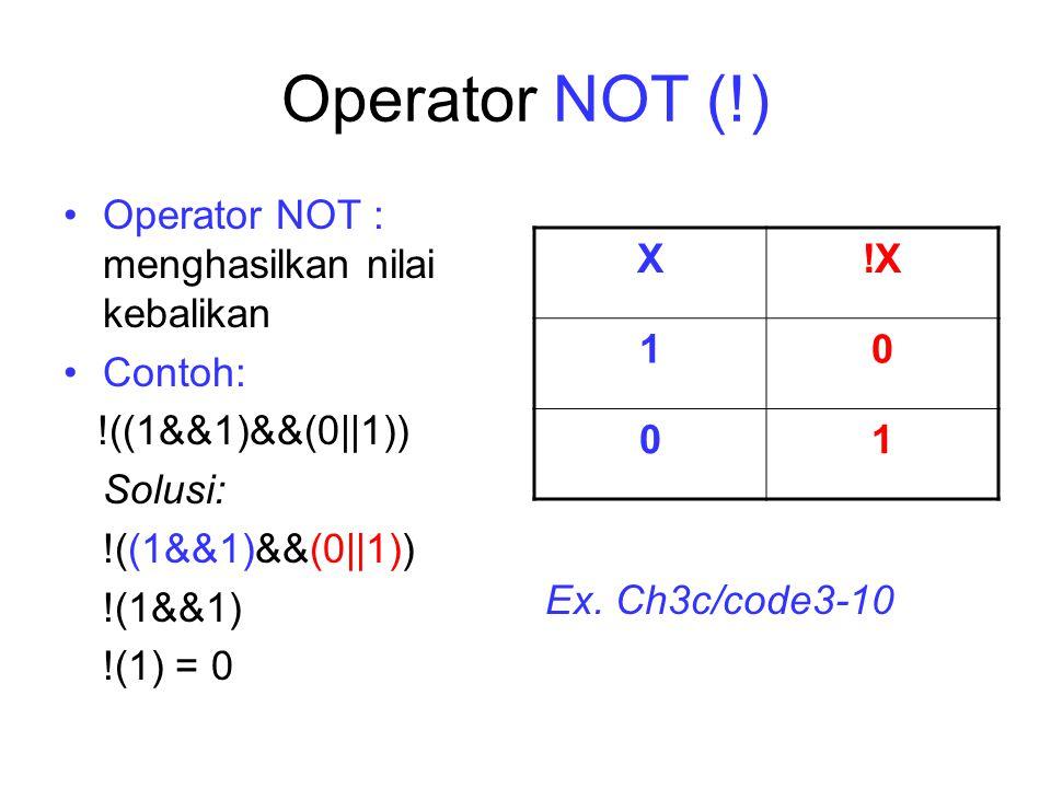 Operator Relasional OperatorJenis OperasiContoh >Lebih besar(5 > 2) = 1 <Lebih kecil(5 < 2) = 0 >=Lebih besar atau sama dengan (5 >= 5) = 1 <=Lebih kecil atau sama dengan (5 <= 2) = 0 ==Sama dengan(5 == 2) = 0 !=Tidak sama dengan(5 != 2) = 1