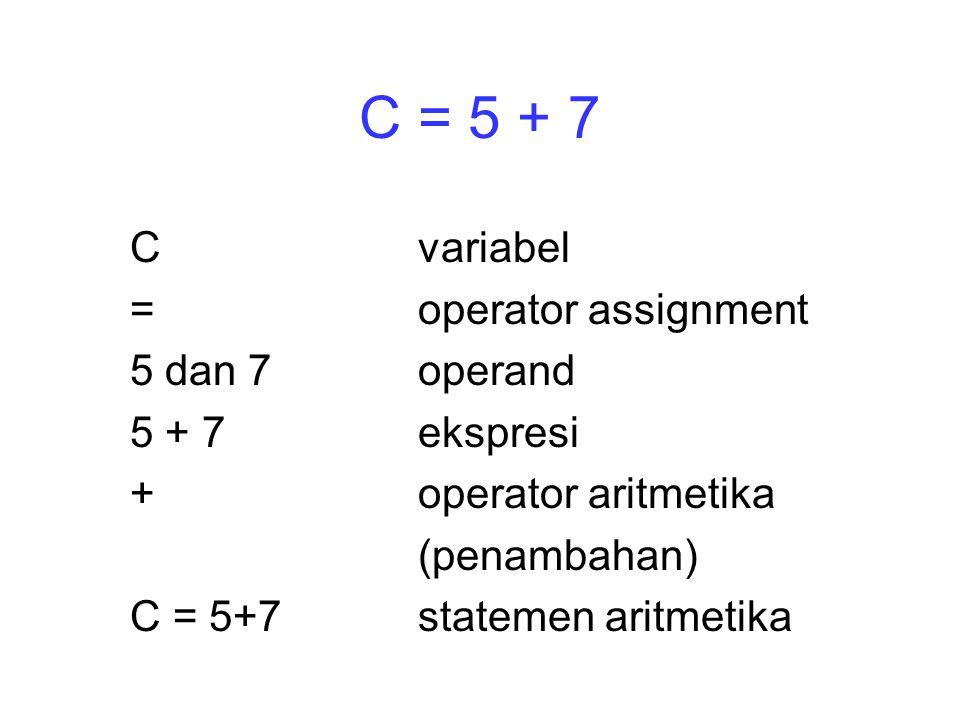 C = 5 + 7 Cvariabel =operator assignment 5 dan 7operand 5 + 7ekspresi +operator aritmetika (penambahan) C = 5+7statemen aritmetika