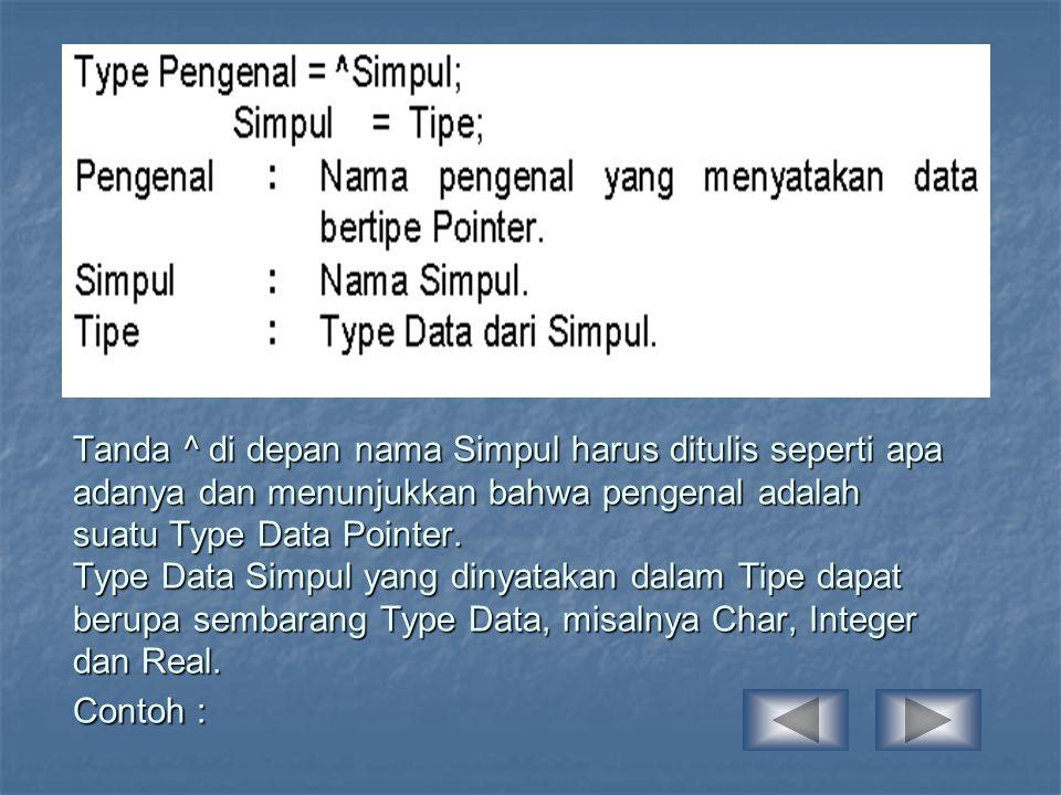 Type Str30 = String[30]; Point = ^Data; Data = Record; Nama_peg : Str30; Alamat : Str30; Pekerjaan : Str30; End; OPERASI PADA POINTER Pertama kali yang harus dilakukan adalah mendeklarasikan Type Pointernya, yaitu : TypeSimpul = ^Data; Data = Record; Nama : String; Alamat : String; Berikut : Simpul; End; Var T1,T2 : Simpul;