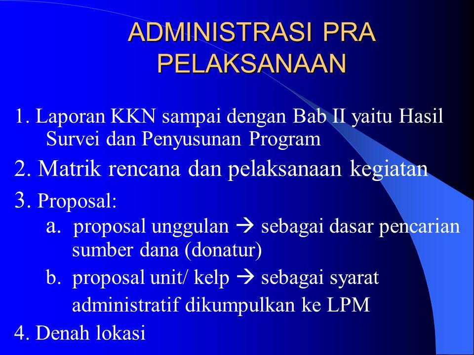 1.Laporan KKN sampai dengan Bab II yaitu Hasil Survei dan Penyusunan Program 2.