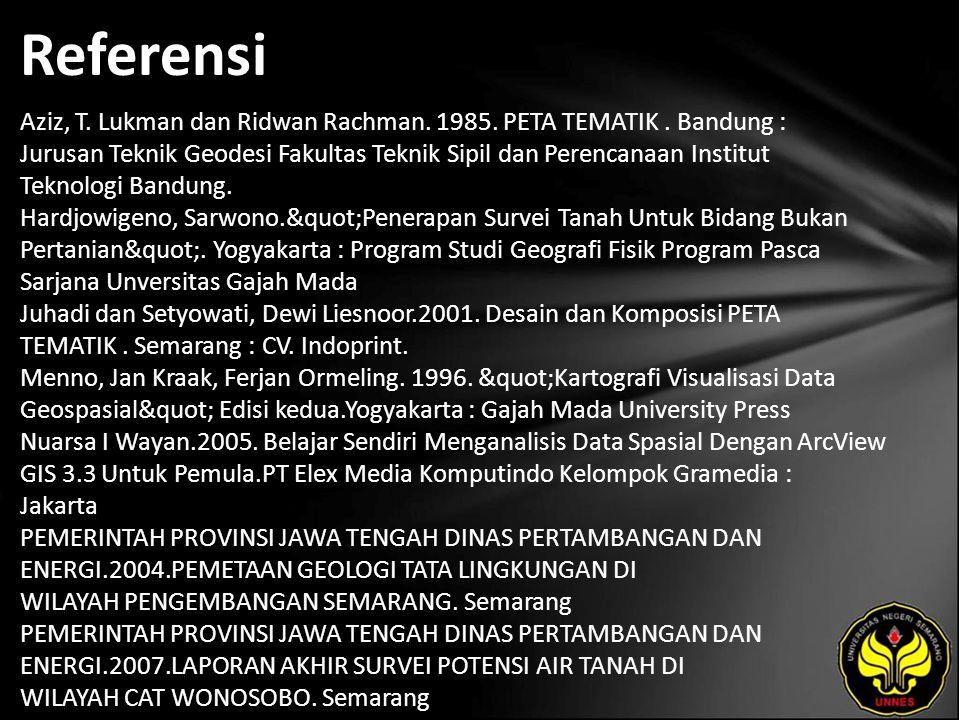Referensi Aziz, T. Lukman dan Ridwan Rachman. 1985.