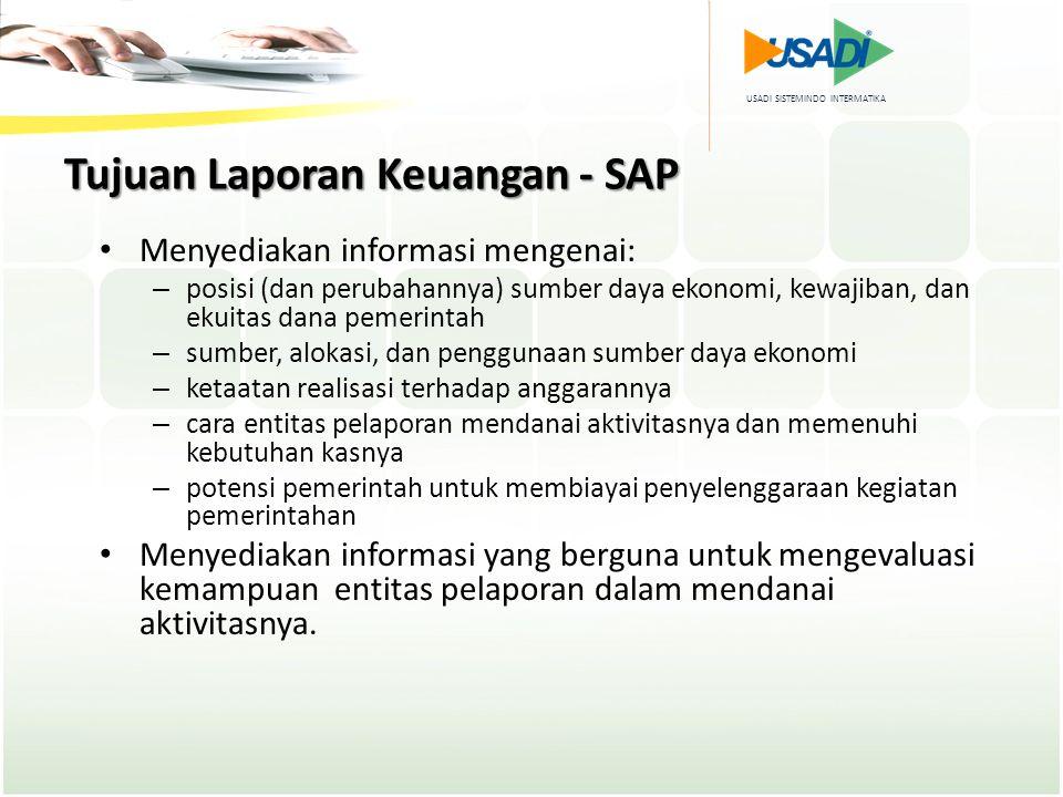 USADI SISTEMINDO INTERMATIKA Tujuan Laporan Keuangan - SAP Menyediakan informasi mengenai: – posisi (dan perubahannya) sumber daya ekonomi, kewajiban,