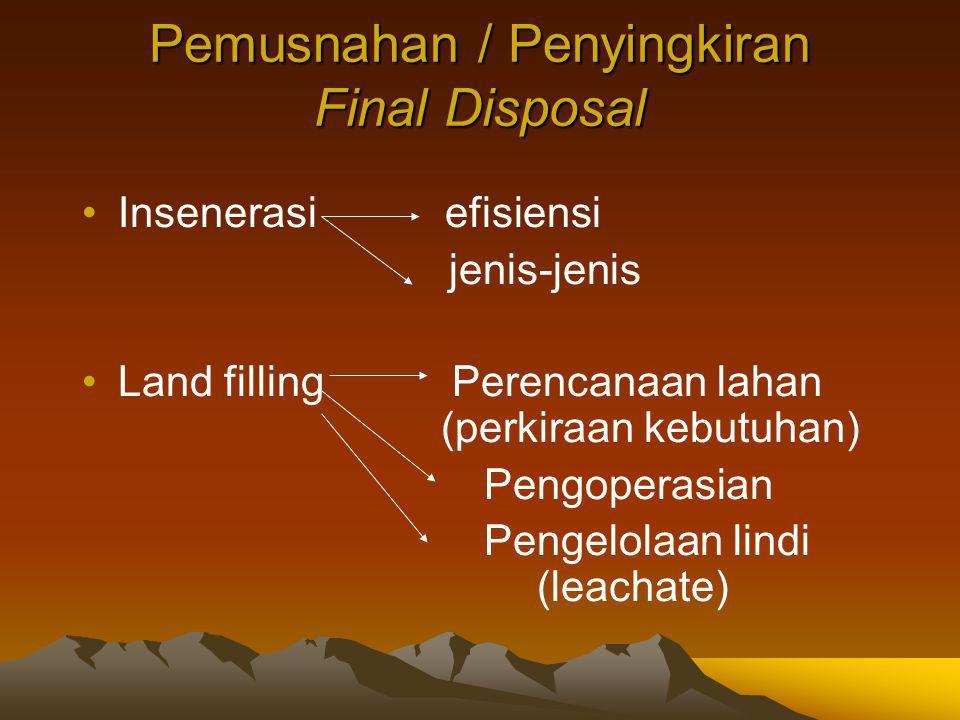 Pemusnahan / Penyingkiran Final Disposal Insenerasi efisiensi jenis-jenis Land filling Perencanaan lahan (perkiraan kebutuhan) Pengoperasian Pengelolaan lindi (leachate)