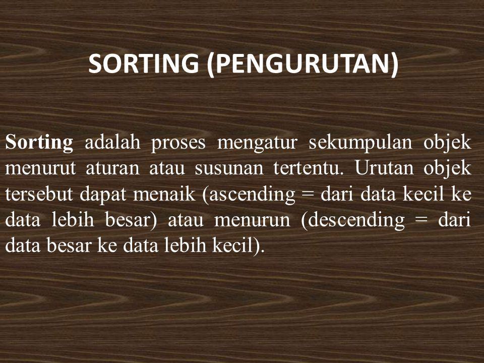 SORTING (PENGURUTAN) Sorting adalah proses mengatur sekumpulan objek menurut aturan atau susunan tertentu. Urutan objek tersebut dapat menaik (ascendi
