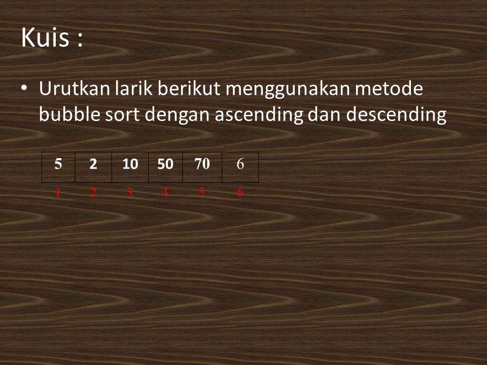 Kuis : Urutkan larik berikut menggunakan metode bubble sort dengan ascending dan descending 5 21050 706 123456