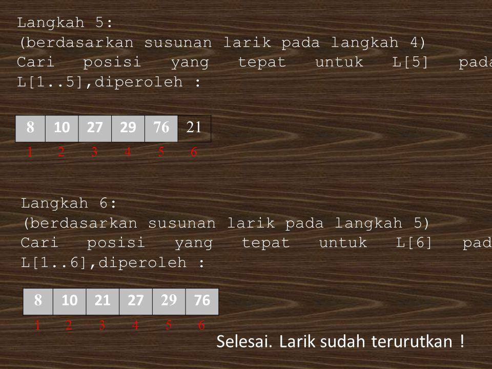 Langkah 5: (berdasarkan susunan larik pada langkah 4) Cari posisi yang tepat untuk L[5] pada L[1..5],diperoleh : 8 102729 7621 123456 Langkah 6: (berd