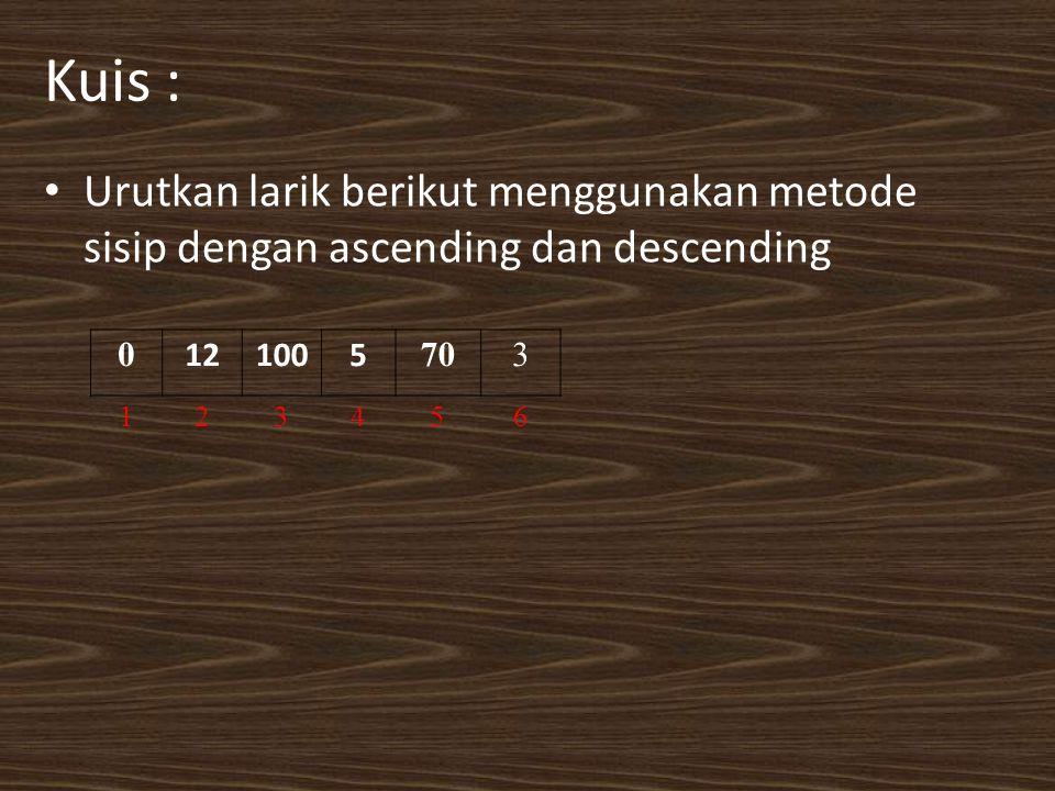 Kuis : Urutkan larik berikut menggunakan metode sisip dengan ascending dan descending 0 121005 703 123456