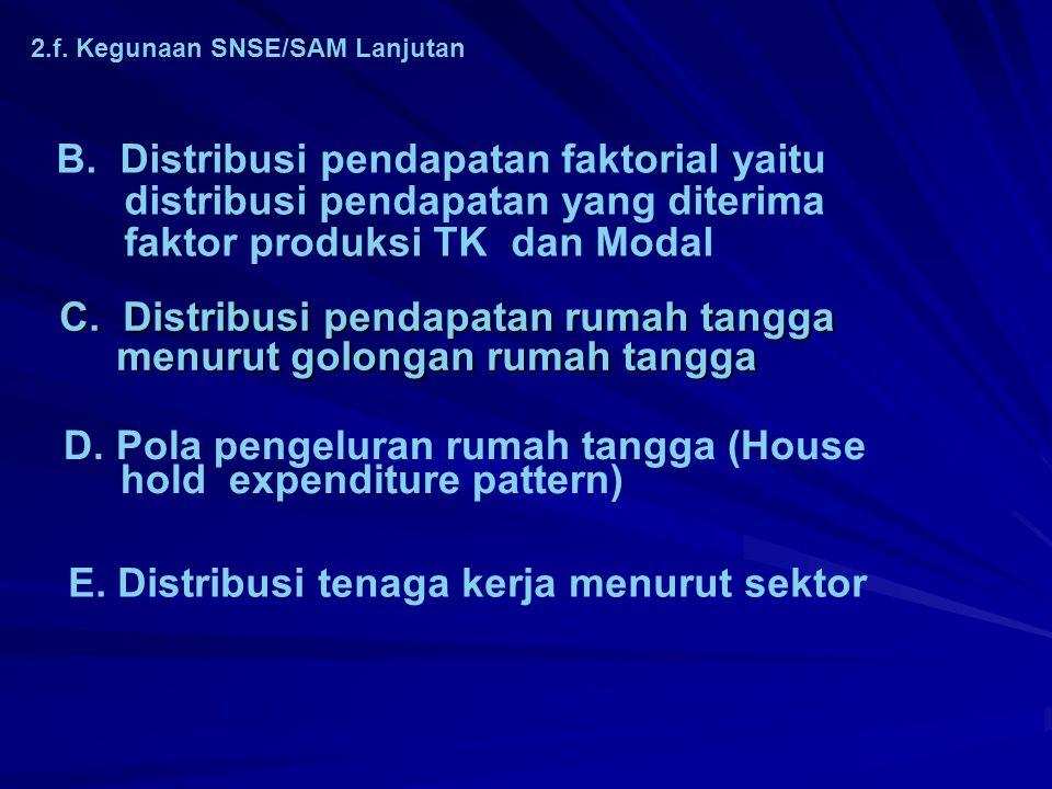 2.f. Kegunaan SNSE/SAM A. Kinerja pembangunan ekonomi suatu negara/wilayah 1. Distribusi PDB/PDRB menurut sektor (supply side) 1. Distribusi PDB/PDRB