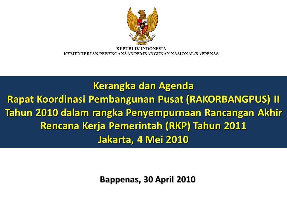 Kerangka dan Agenda Rapat Koordinasi Pembangunan Pusat (RAKORBANGPUS) II Tahun 2010 dalam rangka Penyempurnaan Rancangan Akhir Rencana Kerja Pemerinta