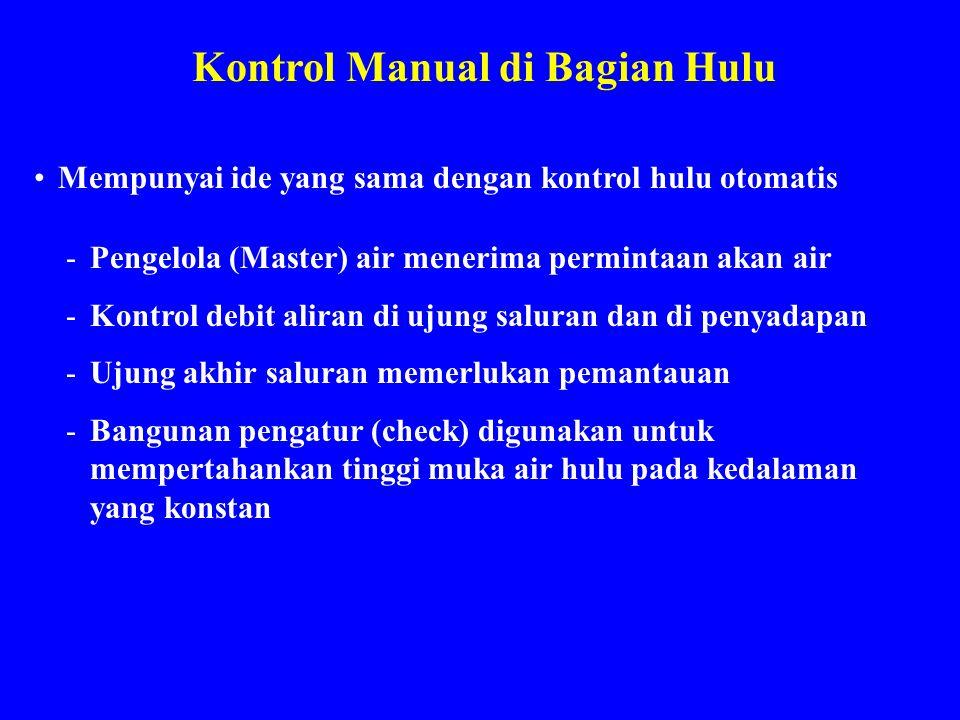Kontrol Manual di Bagian Hulu Mempunyai ide yang sama dengan kontrol hulu otomatis -Pengelola (Master) air menerima permintaan akan air -Kontrol debit
