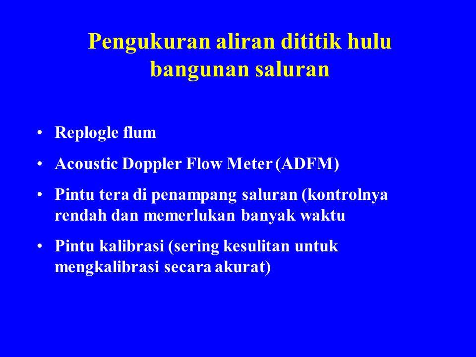 Pengukuran aliran dititik hulu bangunan saluran Replogle flum Acoustic Doppler Flow Meter (ADFM) Pintu tera di penampang saluran (kontrolnya rendah da