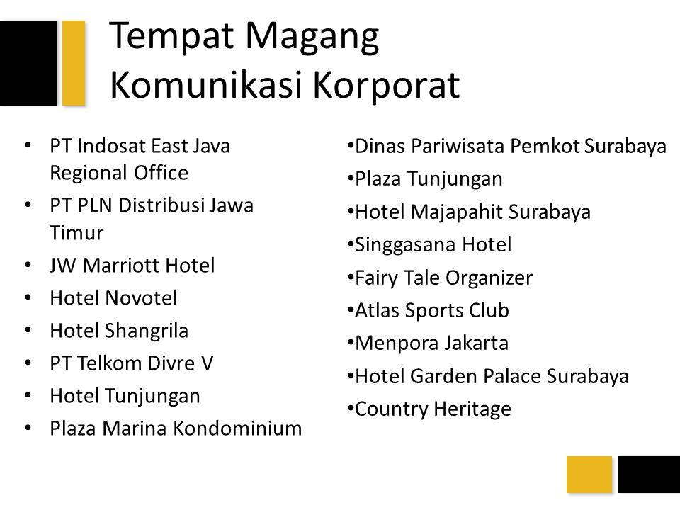 Tempat Magang Komunikasi Korporat PT Indosat East Java Regional Office PT PLN Distribusi Jawa Timur JW Marriott Hotel Hotel Novotel Hotel Shangrila PT
