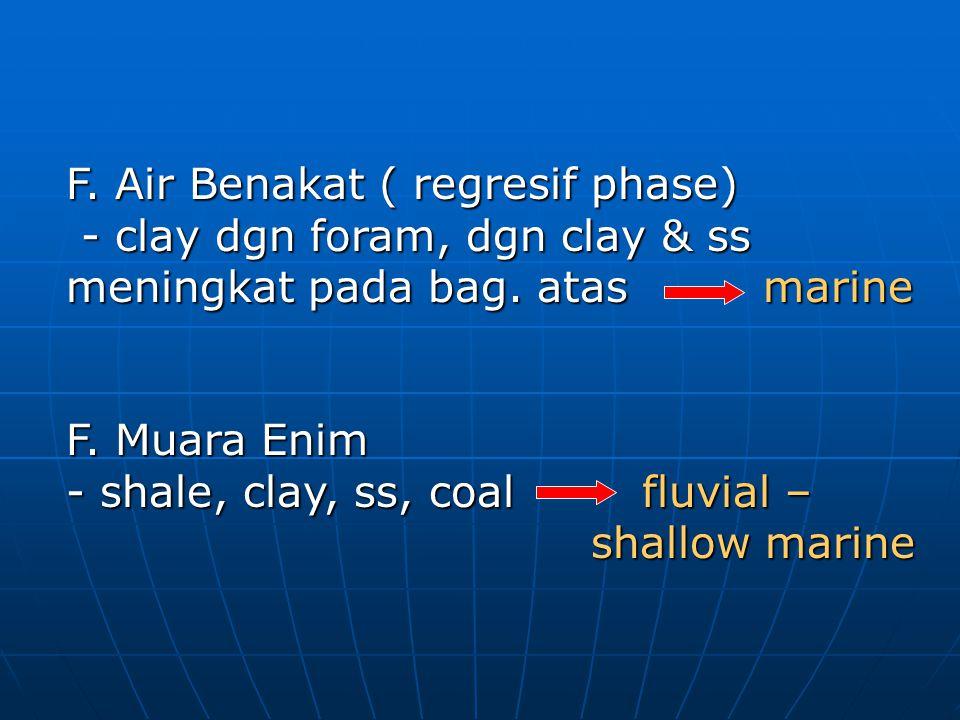 F. Air Benakat ( regresif phase) - clay dgn foram, dgn clay & ss meningkat pada bag. atas marine - clay dgn foram, dgn clay & ss meningkat pada bag. a
