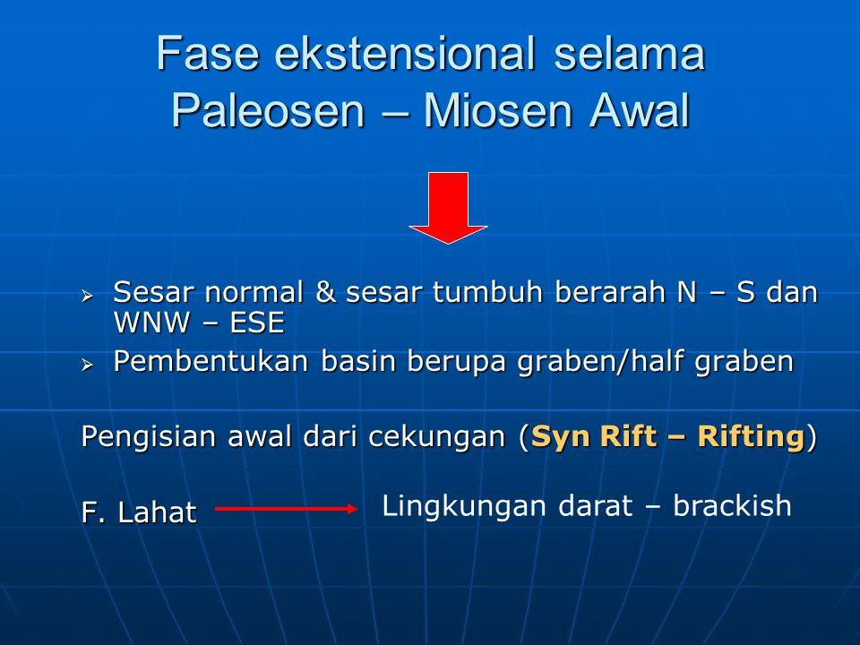 Fase ekstensional selama Paleosen – Miosen Awal  Sesar normal & sesar tumbuh berarah N – S dan WNW – ESE  Pembentukan basin berupa graben/half grabe