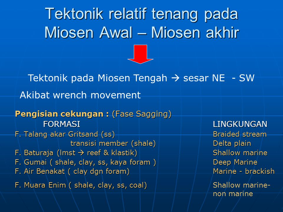 Tektonik relatif tenang pada Miosen Awal – Miosen akhir Pengisian cekungan : (Fase Sagging) FORMASILINGKUNGAN F. Talang akar Gritsand (ss) Braided str