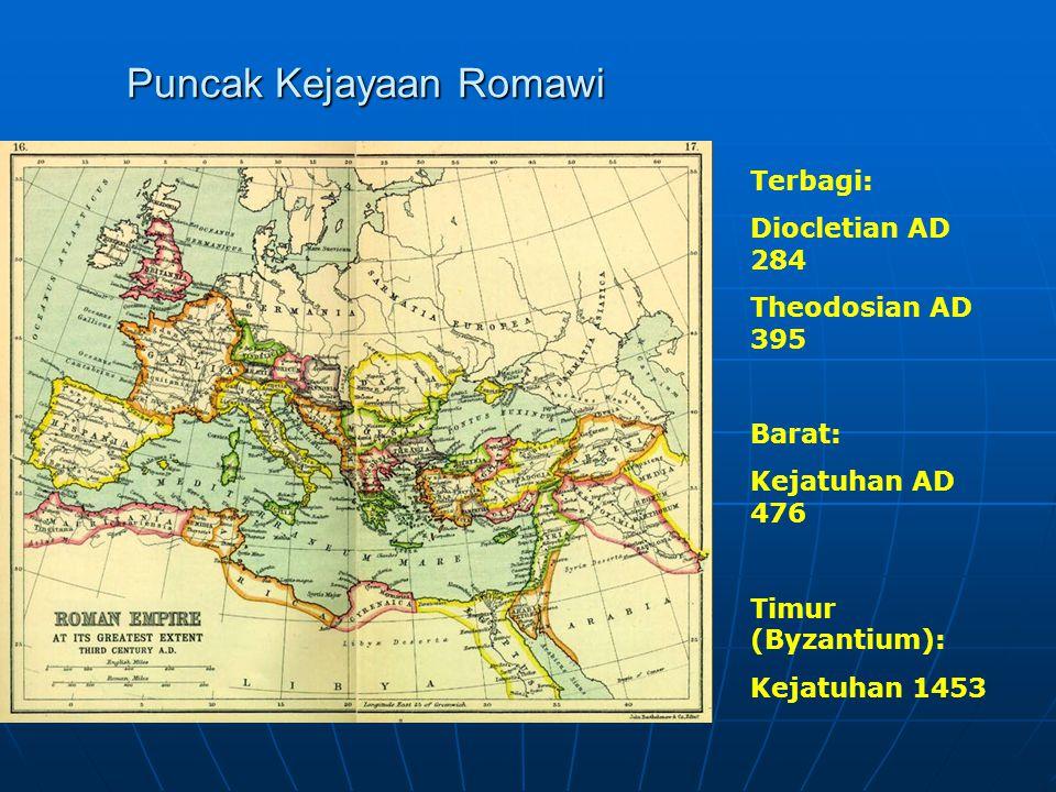 Puncak Kejayaan Romawi Terbagi: Diocletian AD 284 Theodosian AD 395 Barat: Kejatuhan AD 476 Timur (Byzantium): Kejatuhan 1453