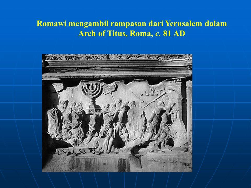 Romawi mengambil rampasan dari Yerusalem dalam Arch of Titus, Roma, c. 81 AD