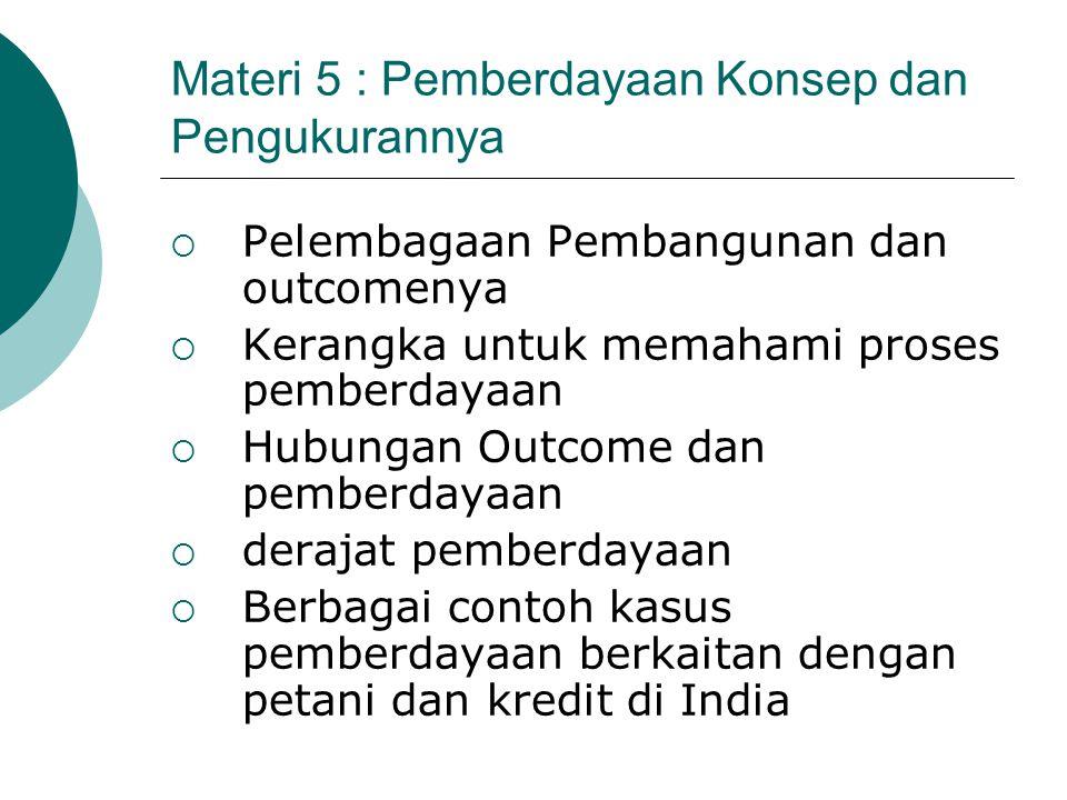 Materi 5 : Pemberdayaan Konsep dan Pengukurannya  Pelembagaan Pembangunan dan outcomenya  Kerangka untuk memahami proses pemberdayaan  Hubungan Out