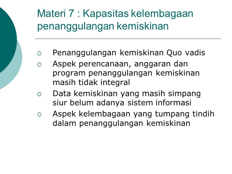 Materi 7 : Kapasitas kelembagaan penanggulangan kemiskinan  Penanggulangan kemiskinan Quo vadis  Aspek perencanaan, anggaran dan program penanggulan