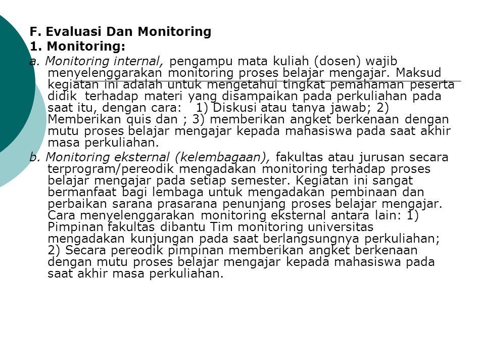 F. Evaluasi Dan Monitoring 1. Monitoring: a. Monitoring internal, pengampu mata kuliah (dosen) wajib menyelenggarakan monitoring proses belajar mengaj