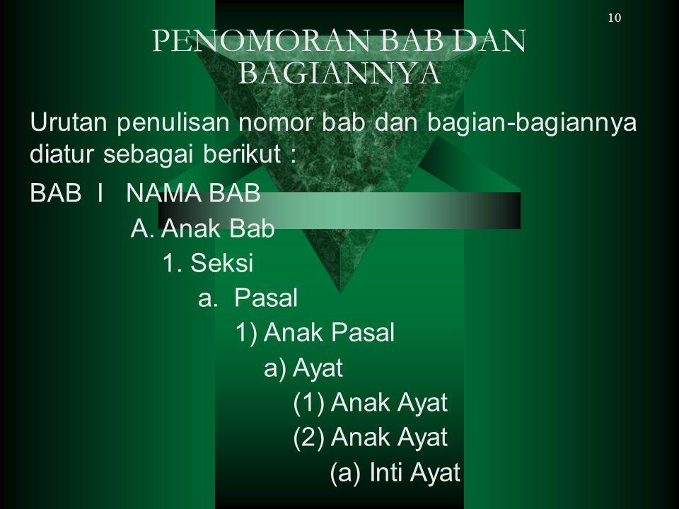 10 PENOMORAN BAB DAN BAGIANNYA Urutan penulisan nomor bab dan bagian-bagiannya diatur sebagai berikut : BAB I NAMA BAB A. Anak Bab 1. Seksi a. Pasal 1