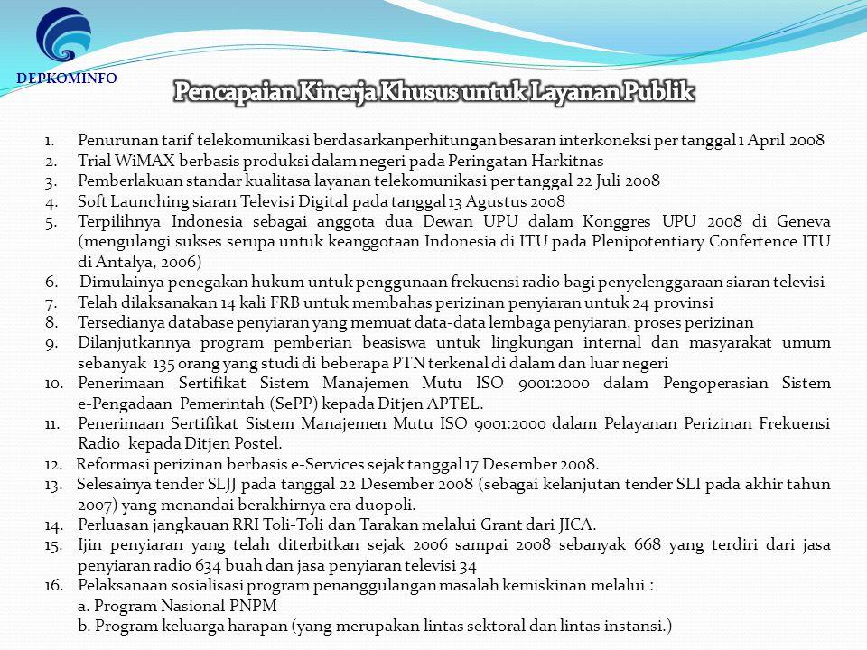 1.Penurunan tarif telekomunikasi berdasarkanperhitungan besaran interkoneksi per tanggal 1 April 2008 2.Trial WiMAX berbasis produksi dalam negeri pada Peringatan Harkitnas 3.Pemberlakuan standar kualitasa layanan telekomunikasi per tanggal 22 Juli 2008 4.Soft Launching siaran Televisi Digital pada tanggal 13 Agustus 2008 5.Terpilihnya Indonesia sebagai anggota dua Dewan UPU dalam Konggres UPU 2008 di Geneva (mengulangi sukses serupa untuk keanggotaan Indonesia di ITU pada Plenipotentiary Confertence ITU di Antalya, 2006) 6.