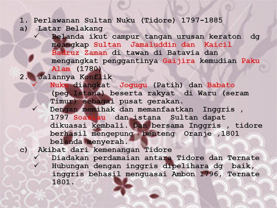 1.Perlawanan Sultan Nuku (Tidore) 1797-1885 a)Latar Belakang Belanda ikut campur tangan urusan keraton dg meangkap Sultan Jamaluddin dan Kaicil Badruz