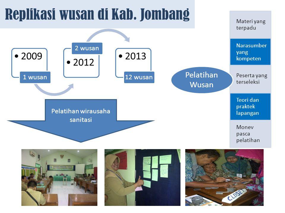 Replikasi wusan di Kab. Jombang 2009 1 wusan 2012 2 wusan 2013 12 wusan Pelatihan wirausaha sanitasi Materi yang terpadu Narasumber yang kompeten Pese