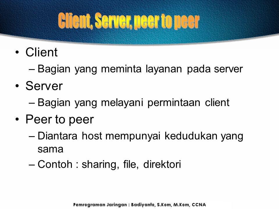 Client –Bagian yang meminta layanan pada server Server –Bagian yang melayani permintaan client Peer to peer –Diantara host mempunyai kedudukan yang sa