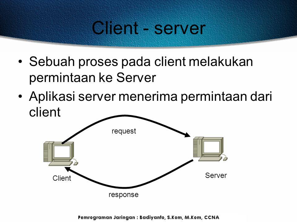 Client - server Sebuah proses pada client melakukan permintaan ke Server Aplikasi server menerima permintaan dari client Client Server request respons