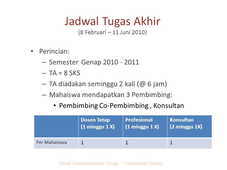 Jadwal Tugas Akhir (8 Februari – 11 Juni 2010) Perincian: – Semester Genap 2010 - 2011 – TA = 8 SKS – TA diadakan seminggu 2 kali (@ 6 jam) – Mahaiswa