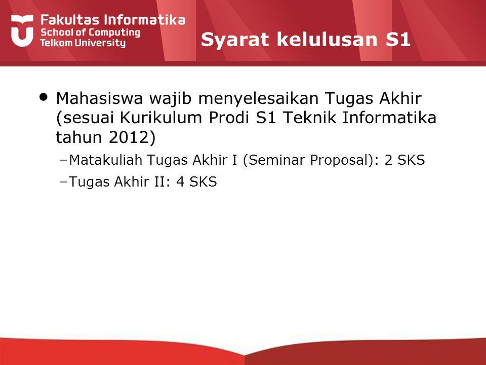 12-CRS-0106 REVISED 8 FEB 2013 Syarat kelulusan S1 Mahasiswa wajib menyelesaikan Tugas Akhir (sesuai Kurikulum Prodi S1 Teknik Informatika tahun 2012)