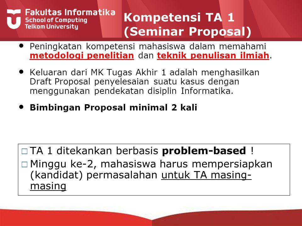 12-CRS-0106 REVISED 8 FEB 2013 Kompetensi TA 1 (Seminar Proposal) Peningkatan kompetensi mahasiswa dalam memahami metodologi penelitian dan teknik penulisan ilmiah.