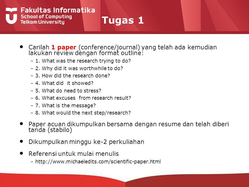 12-CRS-0106 REVISED 8 FEB 2013 Tugas 1 Carilah 1 paper (conference/journal) yang telah ada kemudian lakukan review dengan format outline: –1. What was