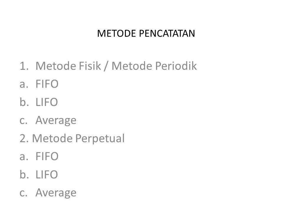 METODE PENCATATAN 1.Metode Fisik / Metode Periodik a.FIFO b.LIFO c.Average 2. Metode Perpetual a.FIFO b.LIFO c.Average