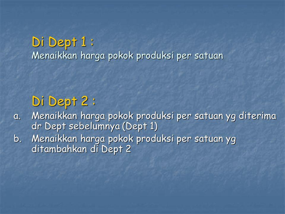 Di Dept 1 : Menaikkan harga pokok produksi per satuan Di Dept 2 : a. Menaikkan harga pokok produksi per satuan yg diterima dr Dept sebelumnya (Dept 1)