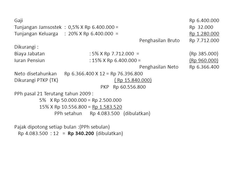 GajiRp 6.400.000 Tunjangan Jamsostek: 0,5% X Rp 6.400.000 = Rp 32.000 Tunjangan Keluarga: 20% X Rp 6.400.000 = Rp 1.280.000 Penghasilan BrutoRp 7.712.000 Dikurangi : Biaya Jabatan: 5% X Rp 7.712.000 =(Rp 385.000) Iuran Pensiun: 15% X Rp 6.400.000 =(Rp 960.000) Penghasilan Neto Rp 6.366.400 Neto disetahunkanRp 6.366.400 X 12 = Rp 76.396.800 Dikurangi PTKP (TK)( Rp 15.840.000) PKP Rp 60.556.800 PPh pasal 21 Terutang tahun 2009 : 5% X Rp 50.000.000 = Rp 2.500.000 15% X Rp 10.556.800 = Rp 1.583.520 PPh setahun Rp 4.083.500 (dibulatkan) Pajak dipotong setiap bulan :(PPh sebulan) Rp 4.083.500 : 12 = Rp 340.200 (dibulatkan)
