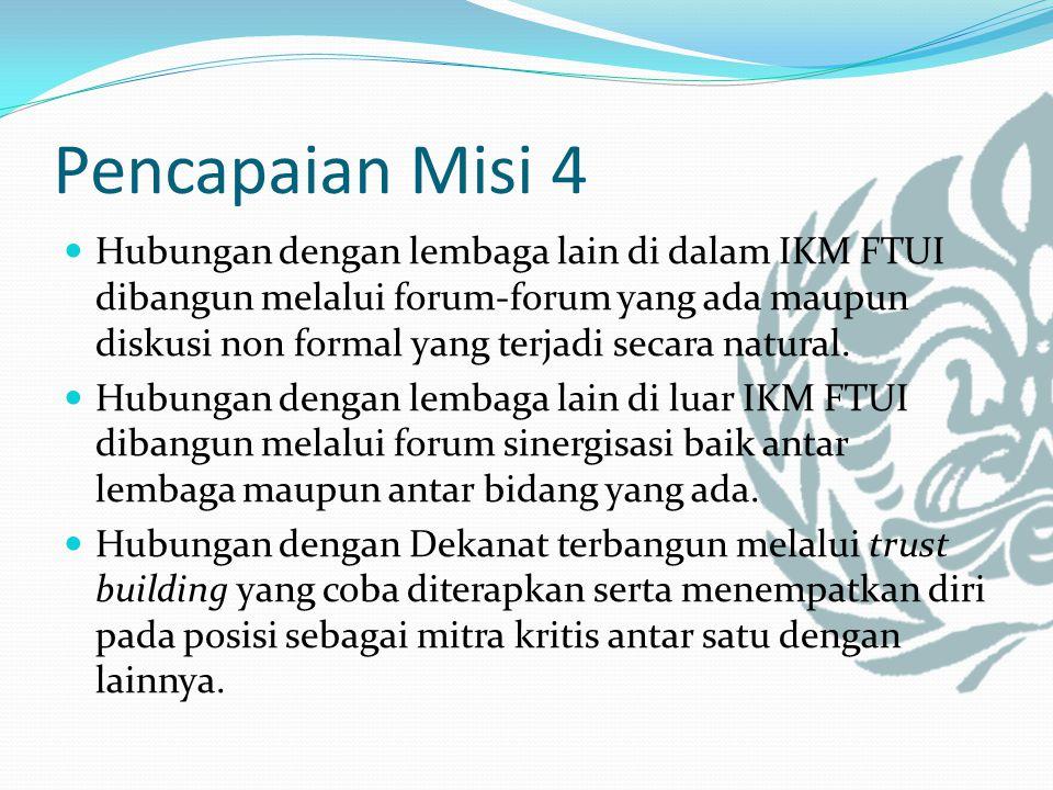 Pencapaian Misi 4 Hubungan dengan lembaga lain di dalam IKM FTUI dibangun melalui forum-forum yang ada maupun diskusi non formal yang terjadi secara natural.