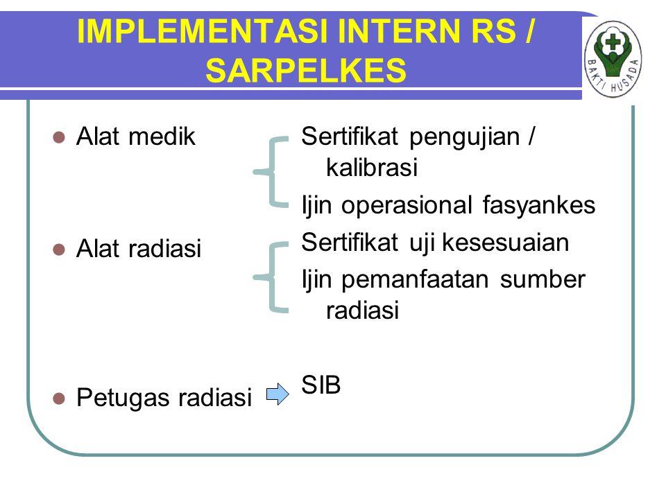 IMPLEMENTASI INTERN RS / SARPELKES Alat medik Alat radiasi Petugas radiasi Sertifikat pengujian / kalibrasi Ijin operasional fasyankes Sertifikat uji kesesuaian Ijin pemanfaatan sumber radiasi SIB
