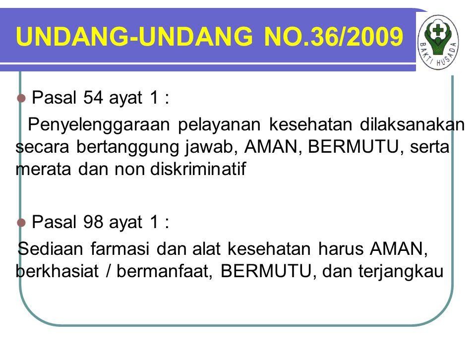 UNDANG-UNDANG NO.36/2009 Pasal 54 ayat 1 : Penyelenggaraan pelayanan kesehatan dilaksanakan secara bertanggung jawab, AMAN, BERMUTU, serta merata dan