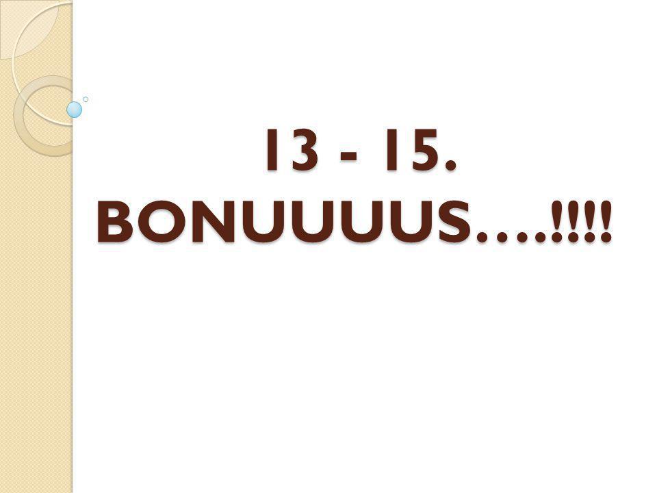 13 - 15. BONUUUUS….!!!!
