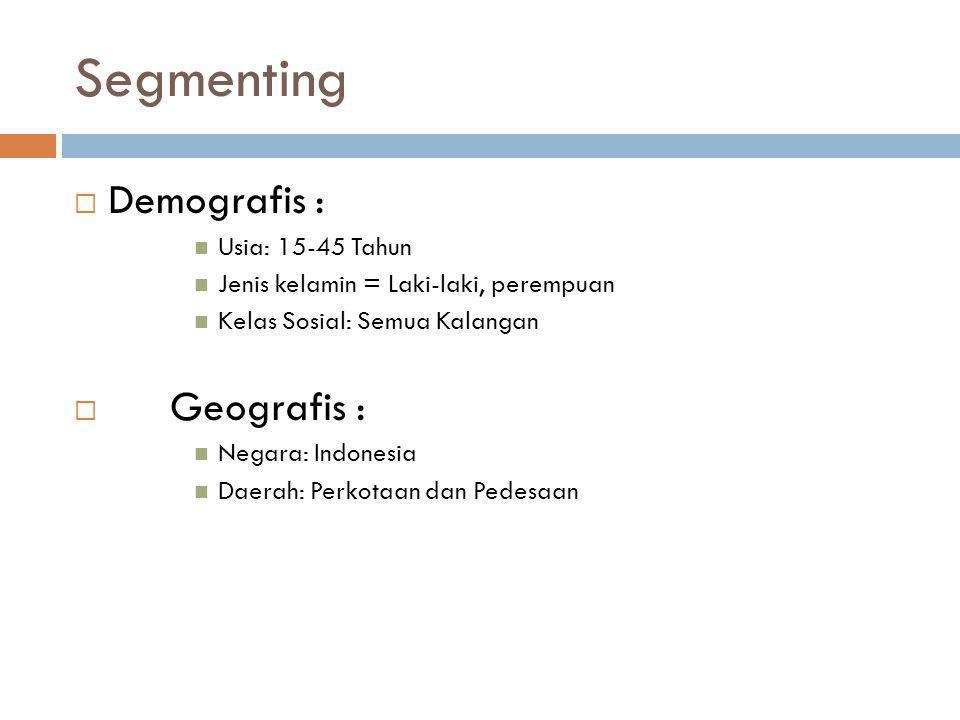 Segmenting  Demografis : Usia: 15-45 Tahun Jenis kelamin = Laki-laki, perempuan Kelas Sosial: Semua Kalangan  Geografis : Negara: Indonesia Daerah: