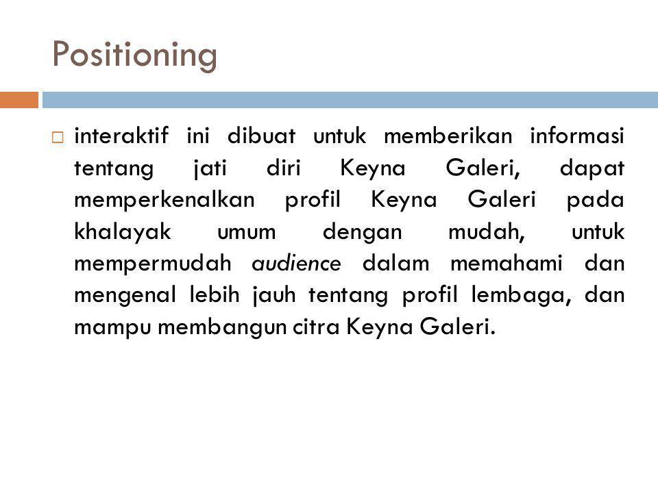 Positioning  interaktif ini dibuat untuk memberikan informasi tentang jati diri Keyna Galeri, dapat memperkenalkan profil Keyna Galeri pada khalayak