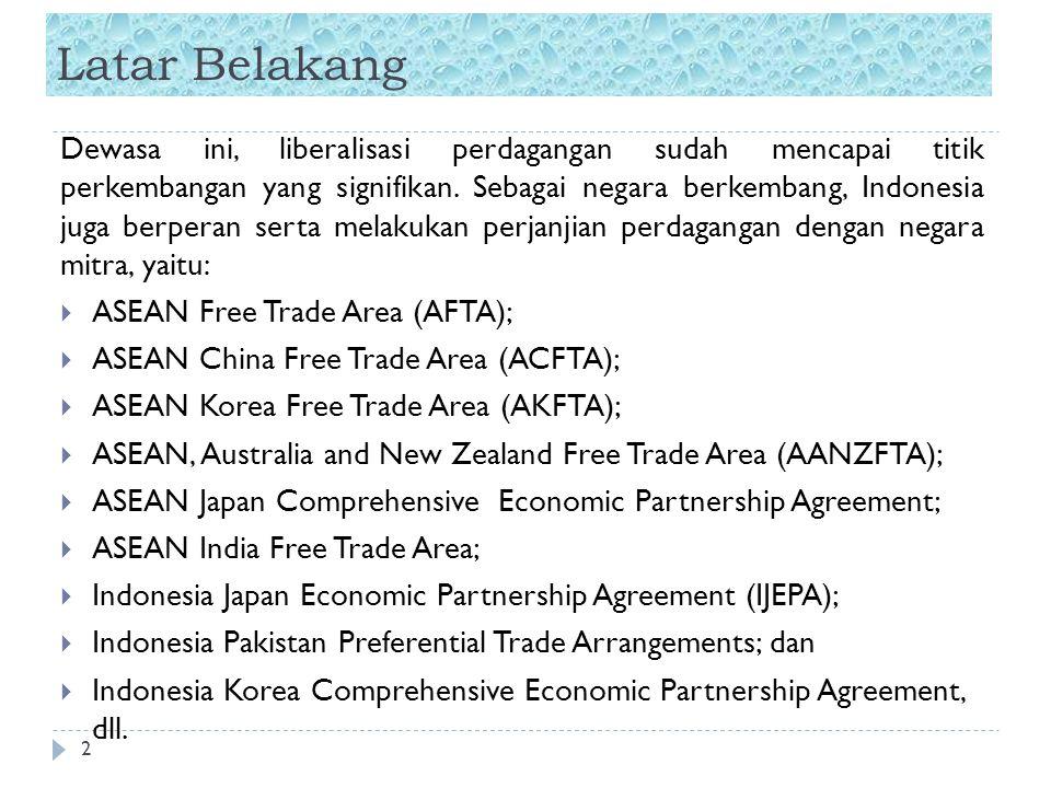 Latar Belakang 2 Dewasa ini, liberalisasi perdagangan sudah mencapai titik perkembangan yang signifikan. Sebagai negara berkembang, Indonesia juga ber