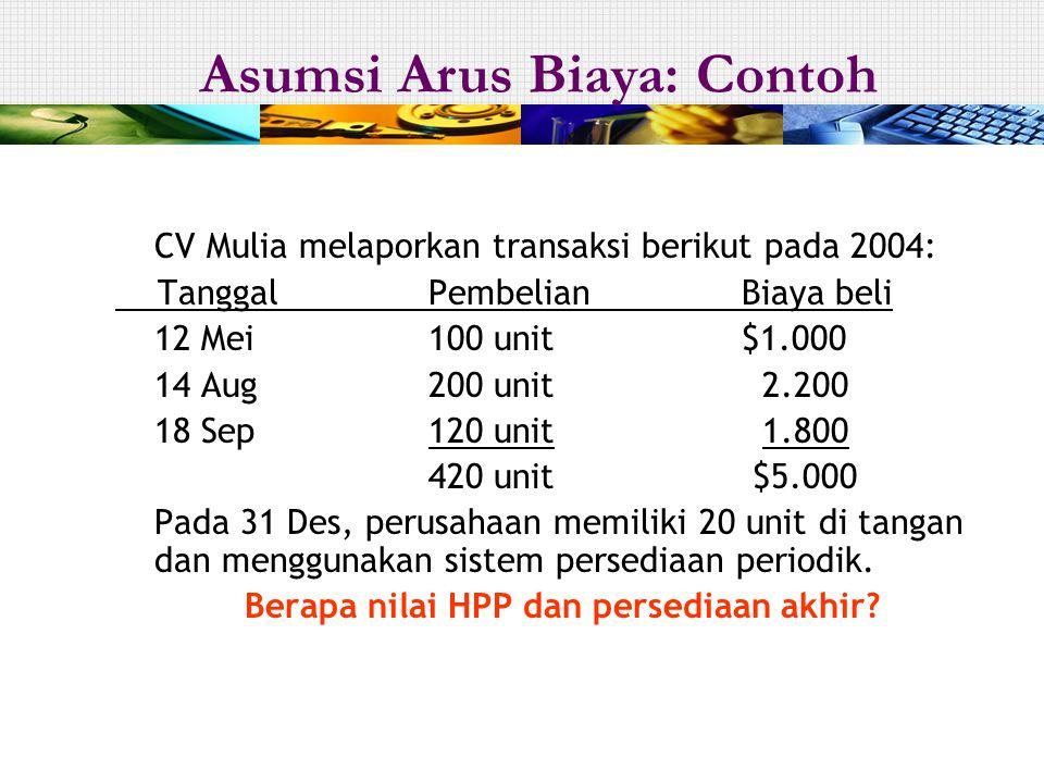 CV Mulia melaporkan transaksi berikut pada 2004: Tanggal PembelianBiaya beli 12 Mei 100 unit$1.000 14 Aug200 unit 2.200 18 Sep120 unit 1.800 420 unit